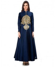 Kmozi Latest Navy Blue Banglory silk Ankle Length Semi-stitched Gown..