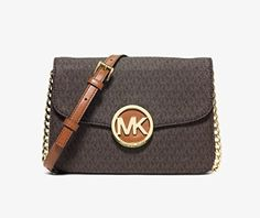 Michael Kors Fulton Flap Gusset MK Signature Crossbody (Brown) -- To view further for this item, visit the image link.
