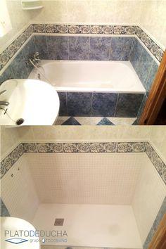 Reforma de un cuarto de baño en la que sustituimos la bañera por un plato de ducha de carga mineral. Somos especialistas en este tipo de obras, materiales de calidad y grandes acabados nos avalan.
