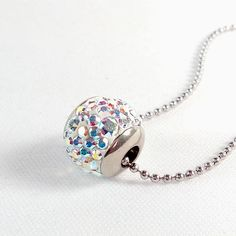 18mm Crystal AB Swarovski Crystal Steel ball pendant tray - Surgical Steel Jewelry - sparkle crystal and steel necklace by SteelJewelryShop on Etsy