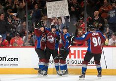 The Colorado Avalanche end Chicago's 45-point streak. I was at this game. I saw that sign from across the way. It got put on the jumbo screen.