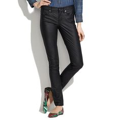 Madewell - Skinny Skinny Jeans in Coated Oilwell Wash Size 25
