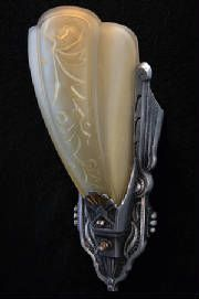 Nickel Plated Slipper Shade Sconce-Art Deco