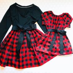 a4eb81d109fda Buffalo Plaid Matching Mother Daughter Christmas Dresses
