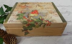 Christmas Storage Box Christmas Decorations Wooden by SCWVintage