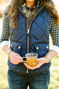 "Navy Fluffy Vest With Cozy Blouse. Should be on a board called ""i wish i had good style like this."""