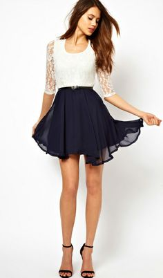 Lace Contrast Navy Chiffon Belt Dress