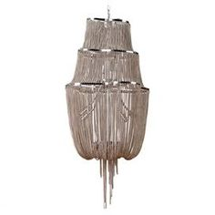 """Three-tier chandelier with cascading chains.  Product: ChandelierConstruction Material: Crystal and metalColor: BronzeFeatures: 32"""" CordAccommodates: (1) Bulb - not includedDimensions: 40"""" H x 18"""" Diameter"""