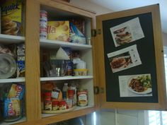 Painted the inside of my kitchen cupboard with magnetic paint, so I could keep my favorite recipes handy:)