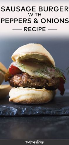 Make your own Italian sausage blend into patties for an unconventional burger-meets-sausage and peppers combo perfect for weeknight summer dinners. #sausage #burgers #summermeals #summerdinners #weeknightmeals #sausageandpeppers #sandwiches #americanfood #italianfood #grilling #summergrilling #maindishes #pork