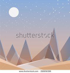 abstract desert landscape wallpaper in triangular geometric composition. Contemporary flat design vector illustration for mobile and web development. Game user interface background. Desktop wallpaper