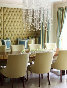 Sophisticated, elegant dining room.