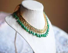 Afreen All Emerald  Necklace by HouseofMor on Etsy