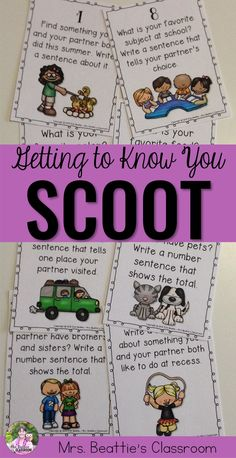 Are you a teacher looking for a creative way to help your new students get to know each other at the beginning of the school year? This Getting to Know You SCOOT game icebreaker is SO much fun and perfect for your first days back to school!!