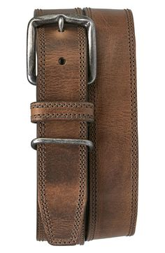 Free shipping and returns on Trask 'Summit' American Steer Leather Belt at Nordstrom.com. An antiqued nickel buckle secures a ruggedly handsome belt crafted from burnished American steer leather and finished with double-needle topstitching. Mens Tan Leather Belt, Leather Belts, Leather Wallet, Burberry Men, Gucci Men, Mens Belts For Jeans, Men's Belts, Fashion Belts, Mens Fashion