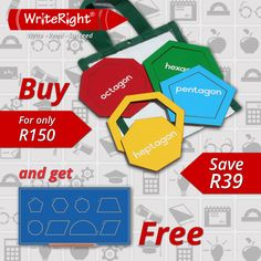 Another great offer from Write Right this festive season.  Purchase the Geometric Shapes in a Bag and receive the stunning Shapes Drawing Board for free.  www.write-right.co.za