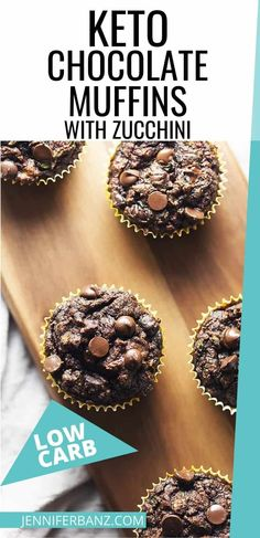 These chocolate low carb muffins made with coconut flour have lots of zucchini and are an easy and healthy way to get some extra veggies in your diet. Keto Chocolate muffins make a great lunch box treat too! Low Carb Chicken Recipes, Healthy Low Carb Recipes, Low Carb Dinner Recipes, Low Carb Desserts, Ketogenic Recipes, Keto Recipes, Protein Recipes, Cookie Recipes, Dessert Recipes