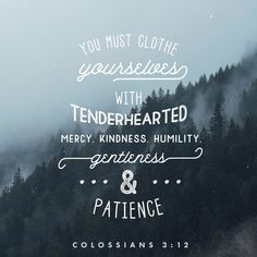 Clothe yourselves with tenderhearted mercy, kindness, humility, gentleness, and patience.