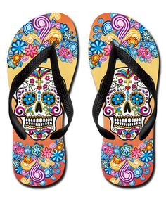 Yes please. These Pink Sugar Skull Graphic Flip Flops iare just fab! #dayofthedead #eldiadelosmuertos