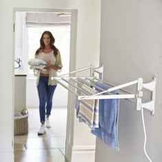 Lakeland Dry-Soon Wall Mounted Heated Indoor Towel & Clothes Airer