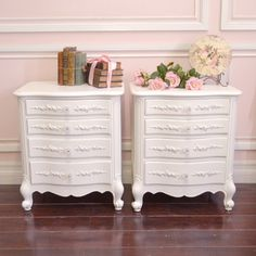Lovely Pair of Shabby White Nightstands with 4 Drawers $595.00 #thebellacottage #shabbychic #cottagechic #furniture #bedroom
