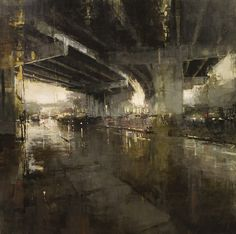 Jeremy Mann - Beneath the Bayshore Freeway. How often have I been in this location, waiting for a break in the traffic Contemporary Landscape, Urban Landscape, Landscape Art, Landscape Paintings, Urban Painting, City Painting, Industrial Paintings, Modern Artists, Pics Art
