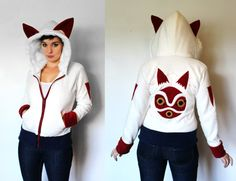 This sweatshirt is MADE-TO-ORDER. It is made entirely out of cuddly anti-pill fleece, with handmade appliques the appliques and details The sweatshirt is sewn with a professional look, with all seams serged and finished.  This hoodie comes with a white fur-lined hood! If you dont want this, just please let us know!  Available in Unisex AND Womens Sizes!  Sizing Chart can be found at the bottom of this page: https://www.etsy.com/shop/RaritysBoutique/policy  All hoodies have a loose/comfy fit…