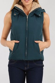 Fur hooded vest with lining and front zipper. The Sally Vest by Unknown Factory. Clothing - Jackets Coats & Blazers - Vests Minneapolis Minnesota