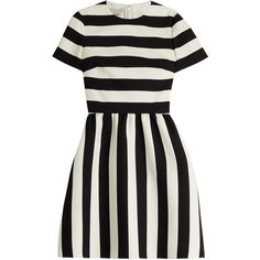 Valentino Virgin Wool-Silk Dress ($3,990) ❤ liked on Polyvore featuring dresses, multicolor, valentino dresses, stripe dress, holiday party dresses, slimming dresses and flare dress