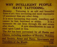 Intelligent people have tattoos and piercings. S Tattoo, Piercing Tattoo, Body Art Tattoos, Tattoo Quotes, Tattoo Memes, Quotes About Tattoos, Tattoo Pics, True Tattoo, Tattoo Shop