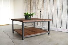 Square Coffee Table With Lower Shelf / Industrial Reclaimed Wood and Steel Coffee Table
