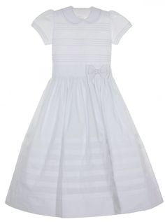 NEW Will'Beth White Batiste Dress with Horizontal Fagoting and Pearl Trimmed Bow $130.00