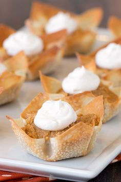 Low-calorie fall dessert! These adorable mini pumpkin pies are exactly what you need amid a sea of too-heavy pumpkin desserts… Healthy, easy & tasty! You'll be making 'em all season long! 1 mini pumpkin pie: 41 calories | <1g fat | 1 Weight Watchers SmartPoint | PIN THIS RECIPE!