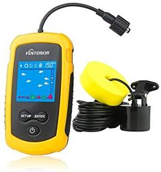 Venterior Portable Fish Finder Handheld Fishfinder Fishing Gear Depth Finder with Sonar Transducer and LCD Display (Yellow)