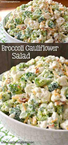 Deliciously Sweet Broccoli Cauliflower Salad --om bacon, broccoli, cauliflower, cheese, healthy, recipes