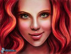 schöne Frau Gesicht, gezeichnetes Gesicht, Rothaarige