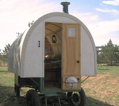 Sheep Wagons Converted into Mobile Living Space. Nice for when you have to sleep out in the field to protect your sheep from the coyotes.