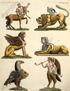 "FABULOUS ANIMALS. 1. CENTAUR. 2. CHIMAERA. 3. GREEK SPHYNX. 4. EGYPTIAN SPHINX. 5. GRYLLUS. 6. SIRENS. Mythology / Animals of the Fable.  ""Fabulous Animals. 1. Centaur. 2. Chimaera. 3. Greek Sphynx. 4. Egyptian Sphinx. 5. Gryllus. 6. Sirens"".  Copper engraving, original colour. From: Friedrich Justin Bertuch, Bilderbuch für Kinder, 1. Bd., Weimar (Verlag des Industrie-Comptoirs) 1792, Nr. 57."