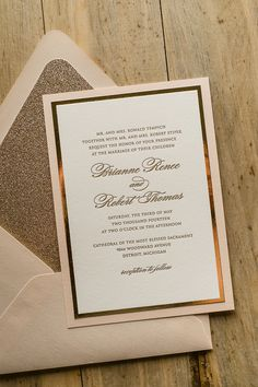 DIANE Suite Fancy Glitter Package, blush and gold, glitter wedding invitations…
