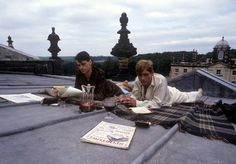 Hanging on the rooftops. Jeremy Irons and Anthony Andrews in Brideshead Revisited* 1981 Boarding School Aesthetic, Anthony Andrews, Brideshead Revisited, Jeremy Irons, Dead Poets Society, The Secret History, The Marauders, Academia, Cinematography