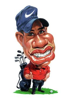 Caricatures of Athletes list >>> Tiger Woods