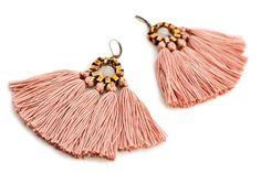 Tassel Earrings Old Rose Fringe Earrings Hippie by gudbling