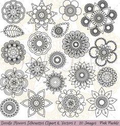 Hand Drawn Flowers Clipart Clip Art Doodle Mandala Clip Art Clipart Vectors - Commercial and Personal Use Mandalas Painting, Mandalas Drawing, Zentangles, 2 Clipart, Flower Clipart, Flower Doodles, Doodle Flowers, Draw Flowers, Adobe Illustrator
