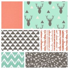 Neutral Baby Bedding - Sheet, Blanket & Skirt Crib Bedding with Deer, Arrows, Birch Trees Mint, Peach and Warm Grey