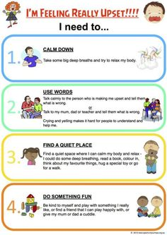 I Am Feeling Really Upset Chart - Helpful Suggestions in dealing with stress and anger for kids Emotional Regulation, Self Regulation, Emotional Development, Coping Skills, Social Skills, Life Skills, Counseling Activities, Therapy Activities, Play Therapy
