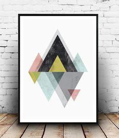 Mountains print, Scandinavian print, Abstract wall art, geometric art, watercolor abstract, minimalist poster, bohemian decor, modern art
