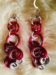Red and Silver Wire Wrapped Earrings on Etsy, $20.00