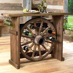 Rustic Home Wine Drinking Center - need to have Jim help me build one of these!