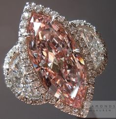 3.09 Fancy Pink Marquise Diamond Halo Ring