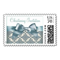 Beige and Blue Damask Baby Christening Stamps
